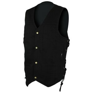 Vance VB915BK Mens Black Ten Pocket Denim Motorcycle Vest