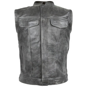 Distressed Grey Zipper and Snap Closure Leather SOA Style Vest