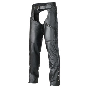 Vance Leather VL804 Mens and Womens All Season Black Zipout Insulated Pants Style Premium Cowhide Motorcycle Leather Chaps