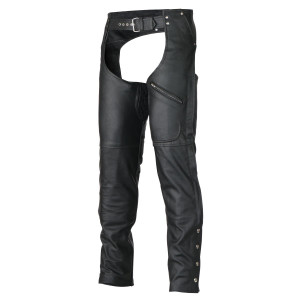 Vance Leather VL804S Men and Women All Season Black Zipout Insulated Thermal Lined Zipper Pocket Biker Motorcycle Leather Chaps