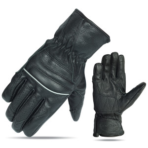 Vance VL476 Mens Black Biker Leather Driving Gloves With Reflective Piping