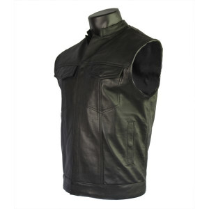 Naked Cowhide Leather Patch Pocket Vest VL911BL