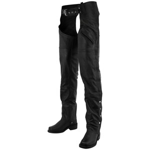 Vance Leather VL812 Mens and Womens Black Premium Cowhide Deep Pocket Biker Leather Motorcycle Chaps