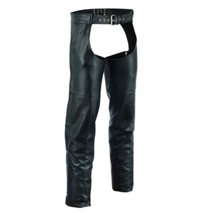 Vance Leather VL813 Men and Women Black Jean Style Cowhide Biker Motorcycle Leather Chaps