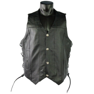 Vance VL907 Mens Black Premium Cowhide Leather Biker Motorcycle Vest with Buffalo Nickel Snaps and Conceal Carry Pocket