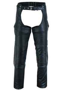 Vance Leather VL811S Men and Women Black Four Pocket Biker Leather Motorcycle Chaps