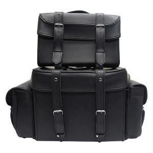 Vance VS339 Black 4 Piece Motorcycle Travel Luggage Sissy Bar Bag