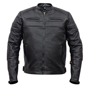 Vance VL513 Men's Quilted Pattern Vented Black Cowhide Leather Biker Motorcycle Scooter Jacket