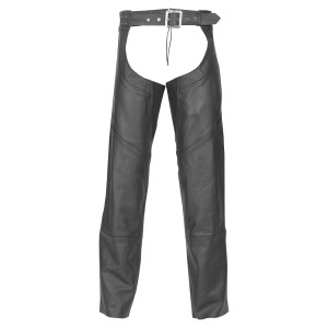 Highway 21 Mens and Womens Black Leather Motorcycle Chaps