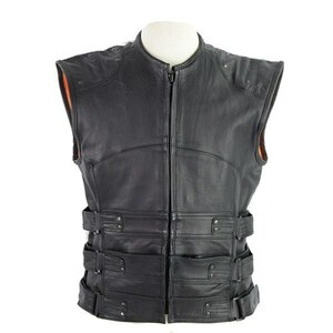 Vance VL905 Mens Black Premium Cowhide Tactical Bulletproof Style Leather Motorcycle Vest