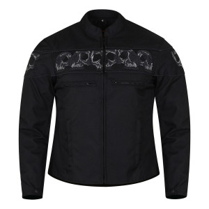 High Mileage HMM1535 Men's Concealed Carry Black Reflective Skulls Textile Motorcycle Jacket