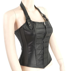 Halter Leather Corset with Buckles