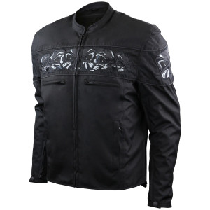 Reflective Skull CE Armored and Dual Conceal Carry Pocket Motorcycle Jacket