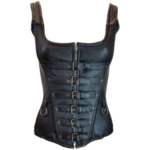 Six Buckle Front Zipper Leather Corset