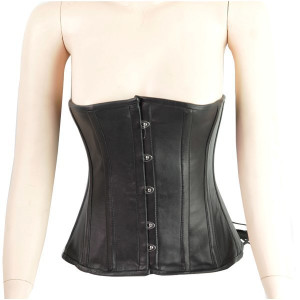Metal Clasp Leather Corset