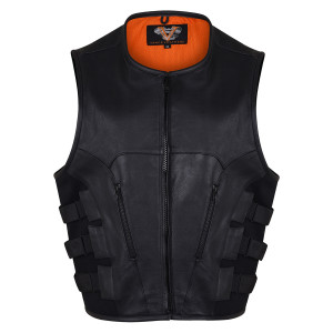 Vance VL904 Mens Black SWAT Team Style Premium Cowhide Biker Motorcycle Leather Vest