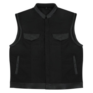 MV720Matt Mens Black SOA Club Style Textile Motorcycle Vest