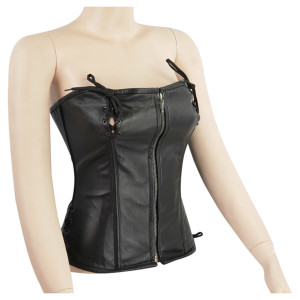 Zippered Leather Corset With Lace Accents