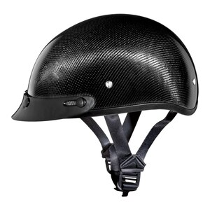 Daytona Skull Cap Carbon Fiber Half Helmet with Peak Visor