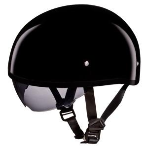 Daytona Skull Cap Half Helmet with Inner Sun Shield - Gloss Black