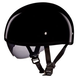 Daytona Skull Cap Half Helmet with Inner Sun Shield - Gloss Black