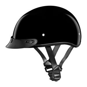 Daytona Skull Cap Half Helmet with Peak Visor - Gloss Black