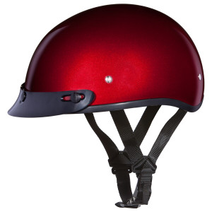 Daytona Skull Cap Half Helmet with Peak Visor - Black Cherry