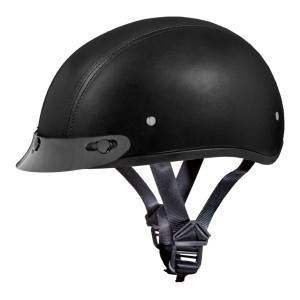 Daytona Skull Cap Leather Half Helmet with Peak Visor