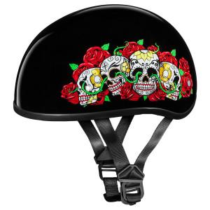 Daytona Skull Cap Rose Skulls Half Helmet