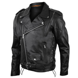 Mens Vented Motorcycle Leather Jacket