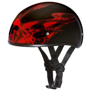 Daytona Skull Cap Skull Flames Half Helmet - Red