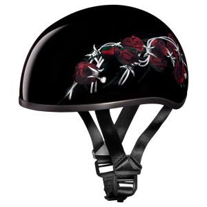 Daytona Women's Skull Cap Barbed Roses Half Helmet