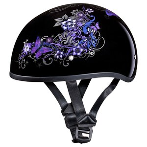 Daytona Women's Skull Cap Butterfly Half Helmet