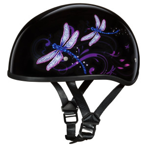Daytona Women's Skull Cap Dragonfly Half Helmet