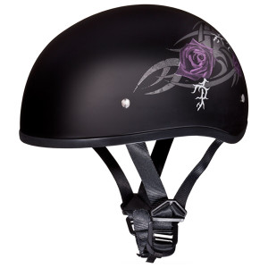 Daytona Women's Skull Cap Purple Rose Half Helmet