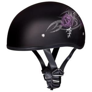 Daytona Women's Skull Cap Purple Rose Half Helmet