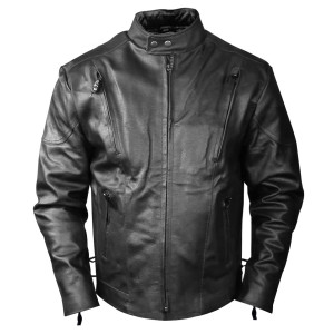 Tall Black Cowhide Leather Motorcycle Jacket