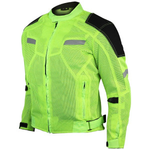 High Visibility Mesh Motorcycle Jacket with Insulated Liner and CE Armor