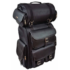 Vance VS1349B Black Large Deluxe Motorcycle Luggage Travel Touring Sissy Bar Bag