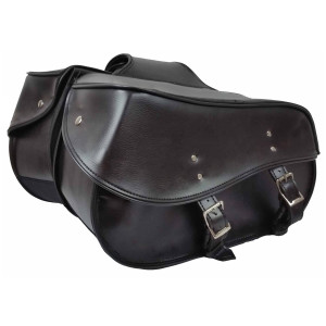 Vance VS229B Black Motorcycle Saddlebags for Honda Yamaha Kawasaki Indian and Harley Davidson Motorcycles