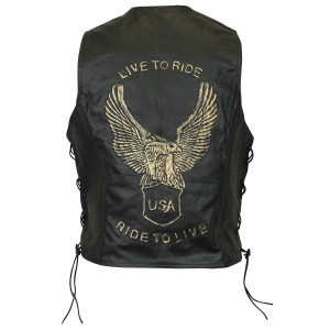 Brown Eagle Embossed Leather Vest-Back View