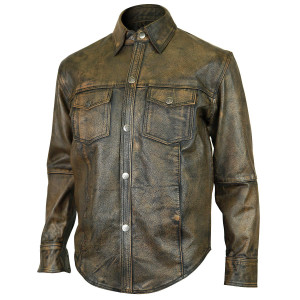 Men's Distressed Brown Cowhide Leather Shirt