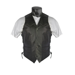 Braided Biker Leather Vest with Side Laces and Gun Pockets