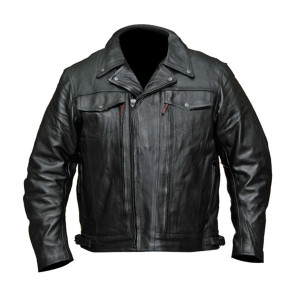 Men's Double Pistol Pete-Chief Premium Leather Motorcycle Jacket - Front