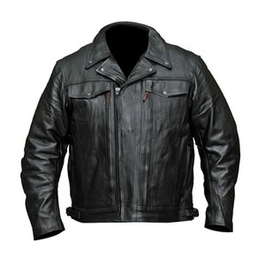 Mens VL512 Leather Motorcycle Jacket - Front