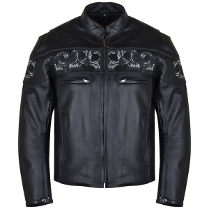 Vance VL535 Men's Black Reflective Skulls Premium Cowhide Leather Biker Motorcycle Riding Jacket
