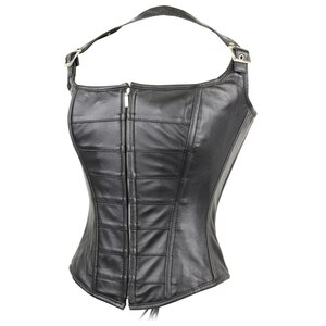 Womens Black Premium Soft Lambskin Zipper Front With Buckled Leather Halter Top Corset