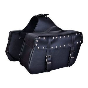 Vance VS219 Black Motorcycle Saddlebags for Honda Yamaha Kawasaki Indian and Harley Davidson Motorcycles