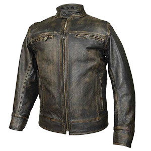 High Mileage Distressed Brown Leather Scooter Jacket