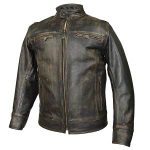 High Mileage HMM546DB Mens Distressed Brown Cowhide Leather Biker Motorcycle Jacket